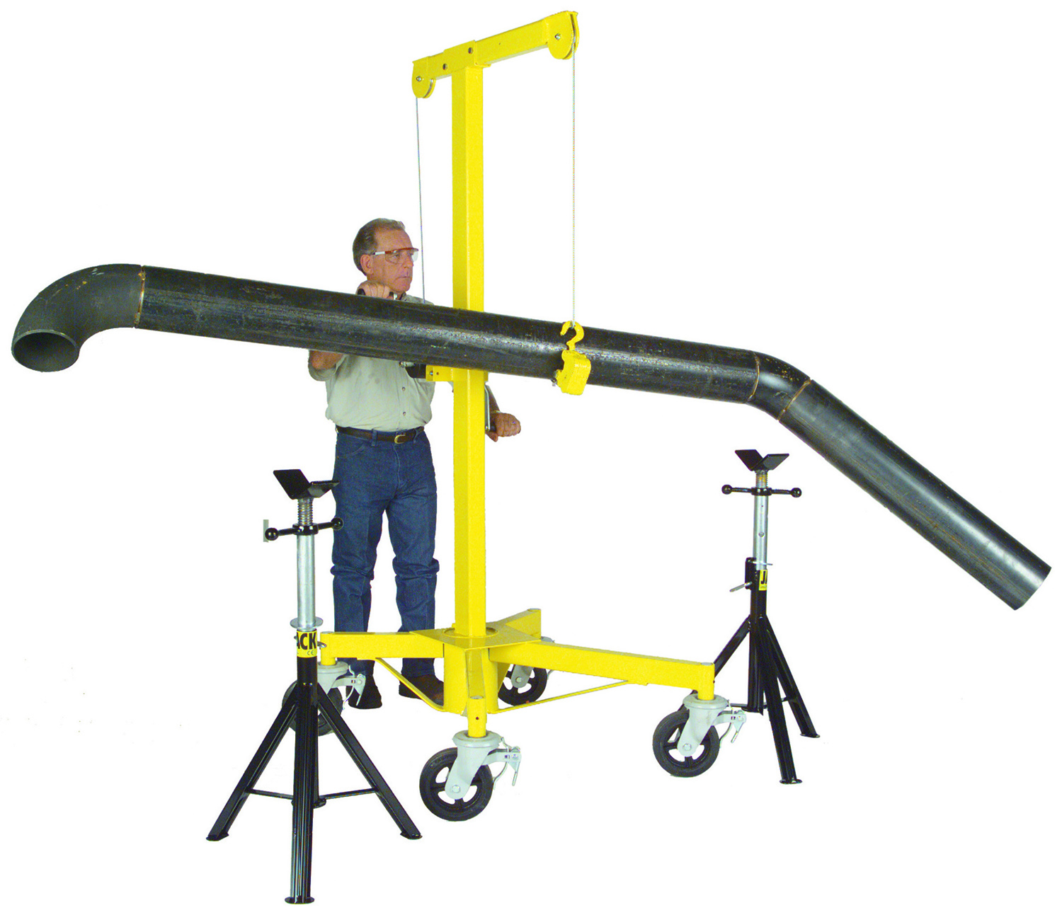 Rinker Materials Concrete Pipe Handling : Mechanical plumbing pipe dollies lifts fabmate™ hoist